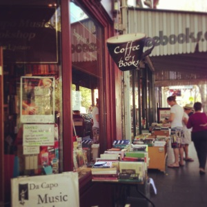 A little bookshop & cafe: combined! Free reading time and caffeine hit? Genius.